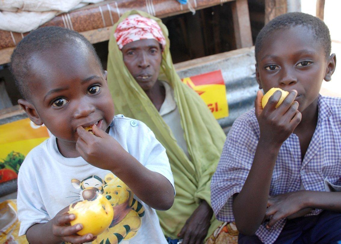 Bambini africani mangiano mele.